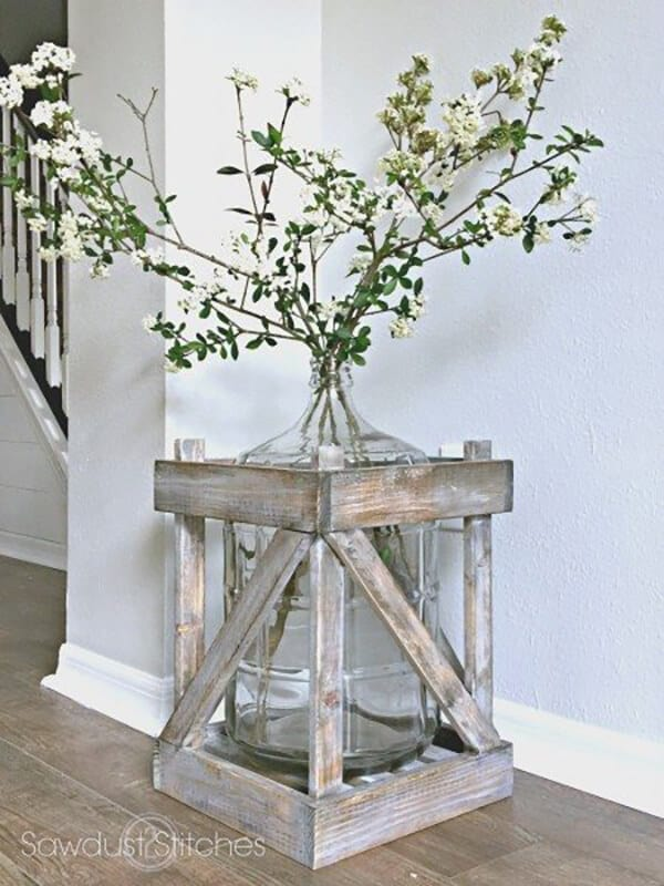 5 gallon bottle vase with wooden crate frame