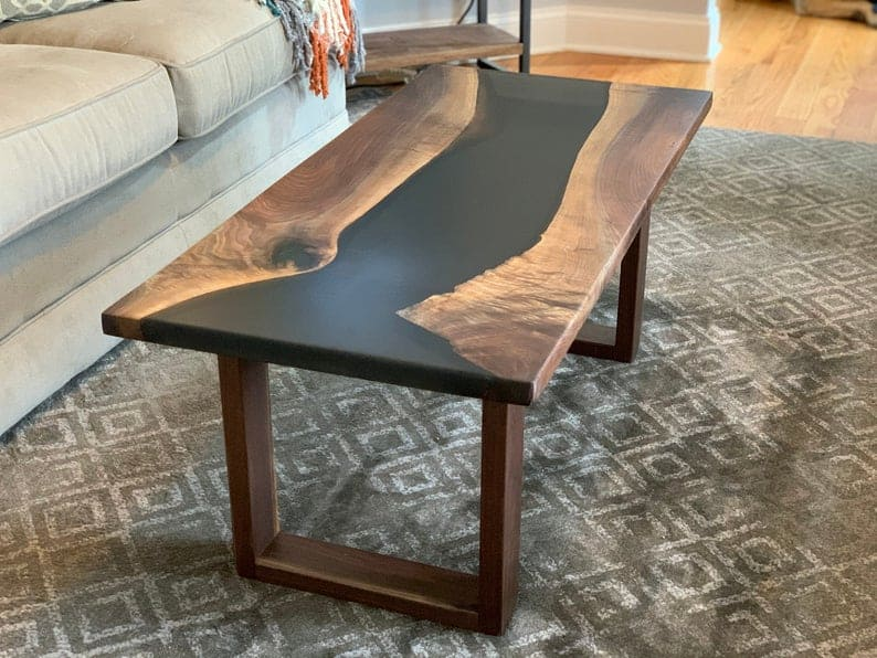 Black walnut river coffee table