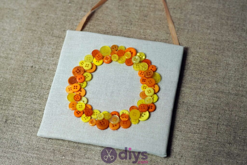 Button art wall hanging colorful