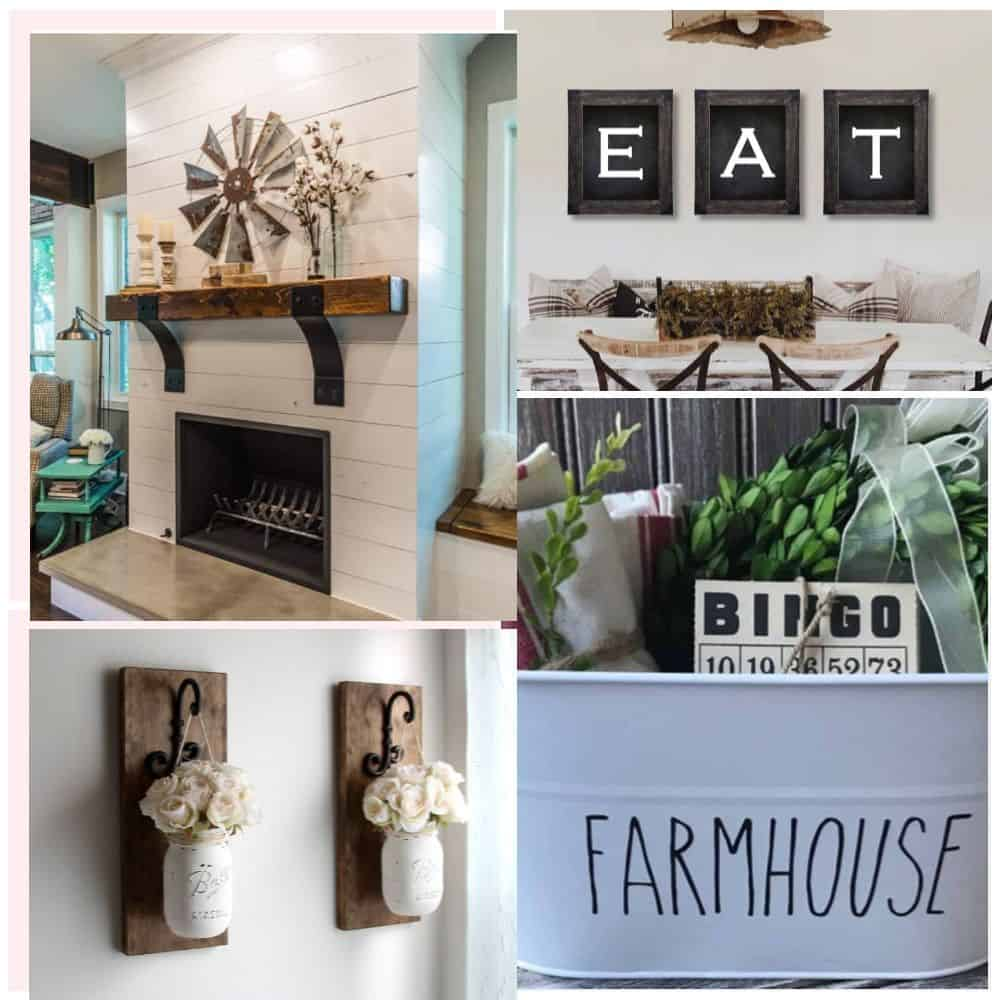 Collage trendy farmhouse decor