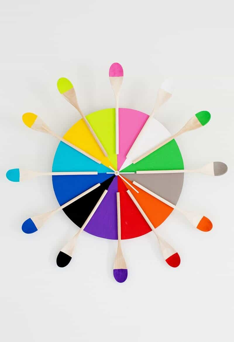 Colourful wooden spoon kitchen clock