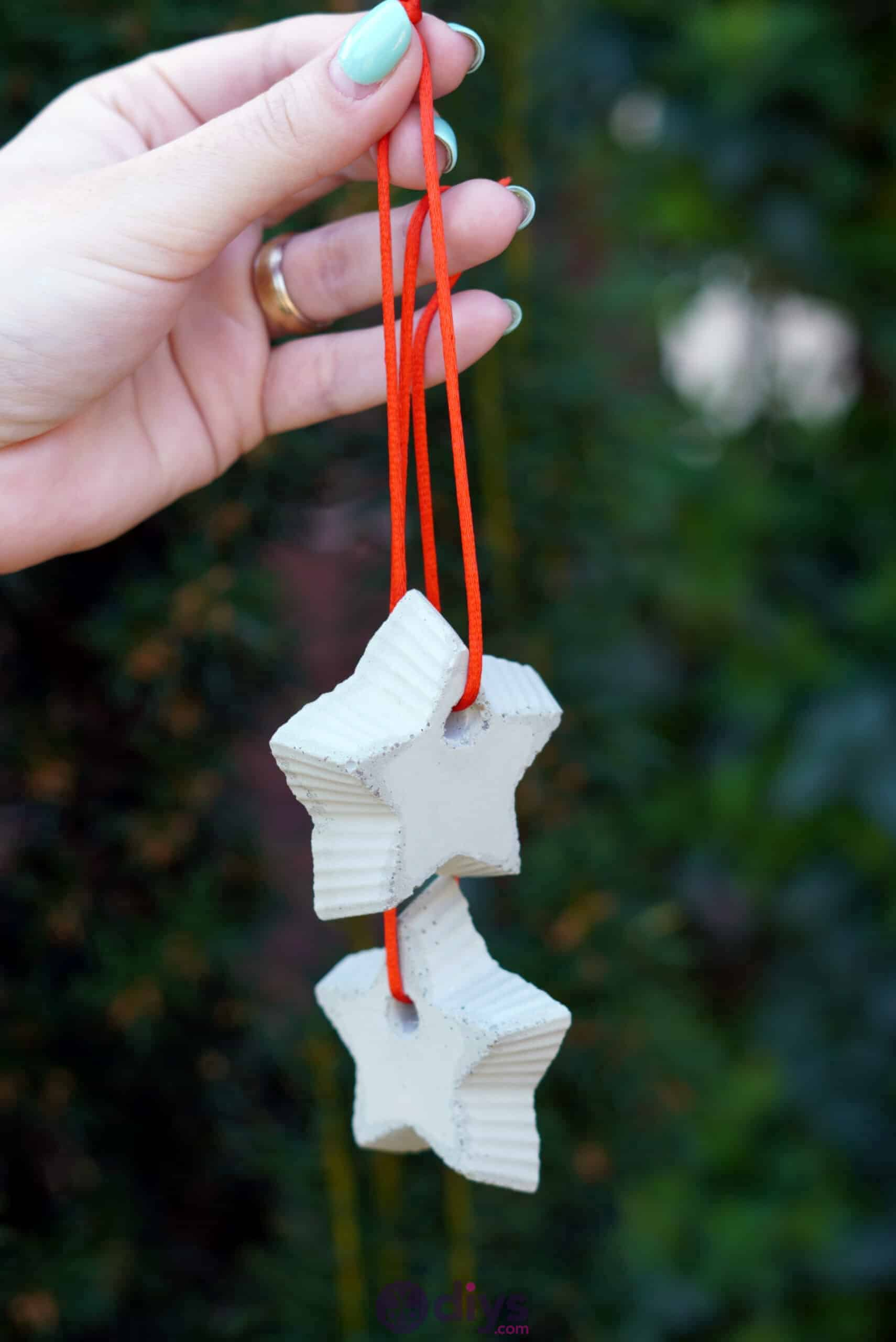 Concrete hanging star decoration red string