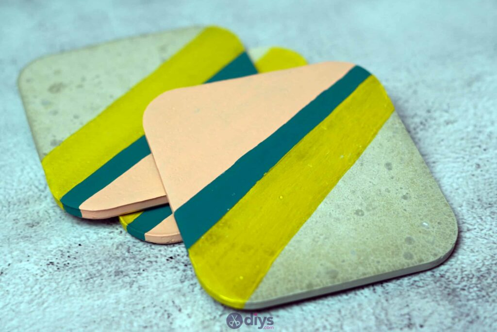 Diy colorful concrete coasters
