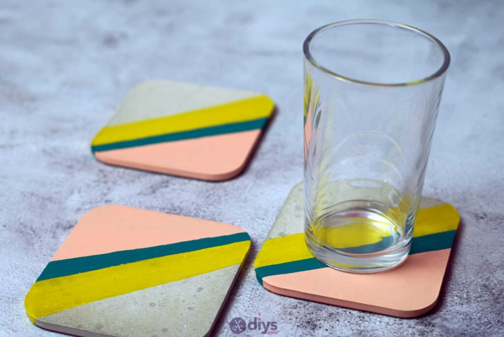 Diy colorful concrete coasters modern