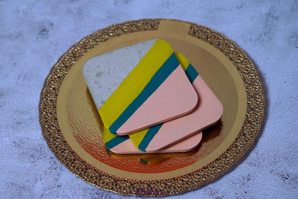 Diy colorful concrete coasters project