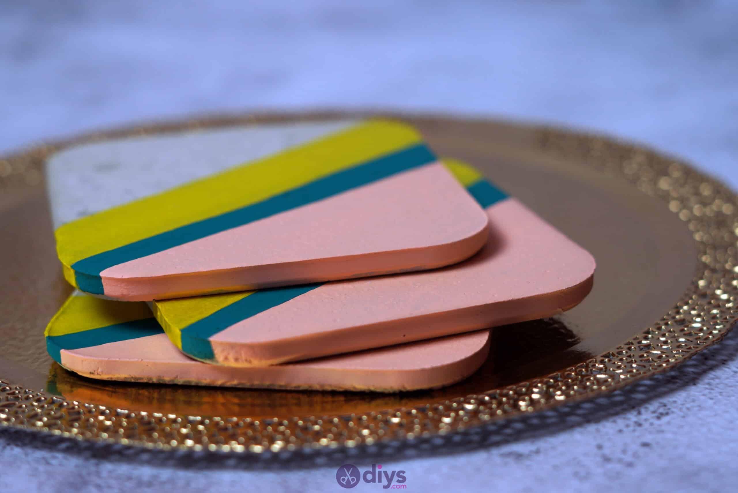 Diy colorful concrete coasters simple idea