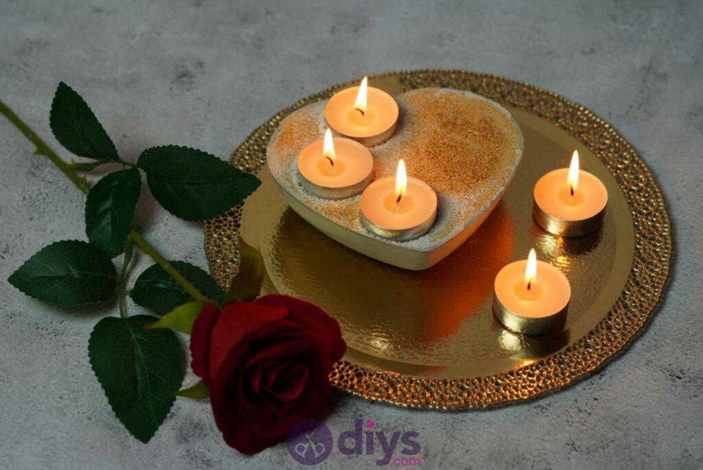 Diy concrete heart candle holder modern