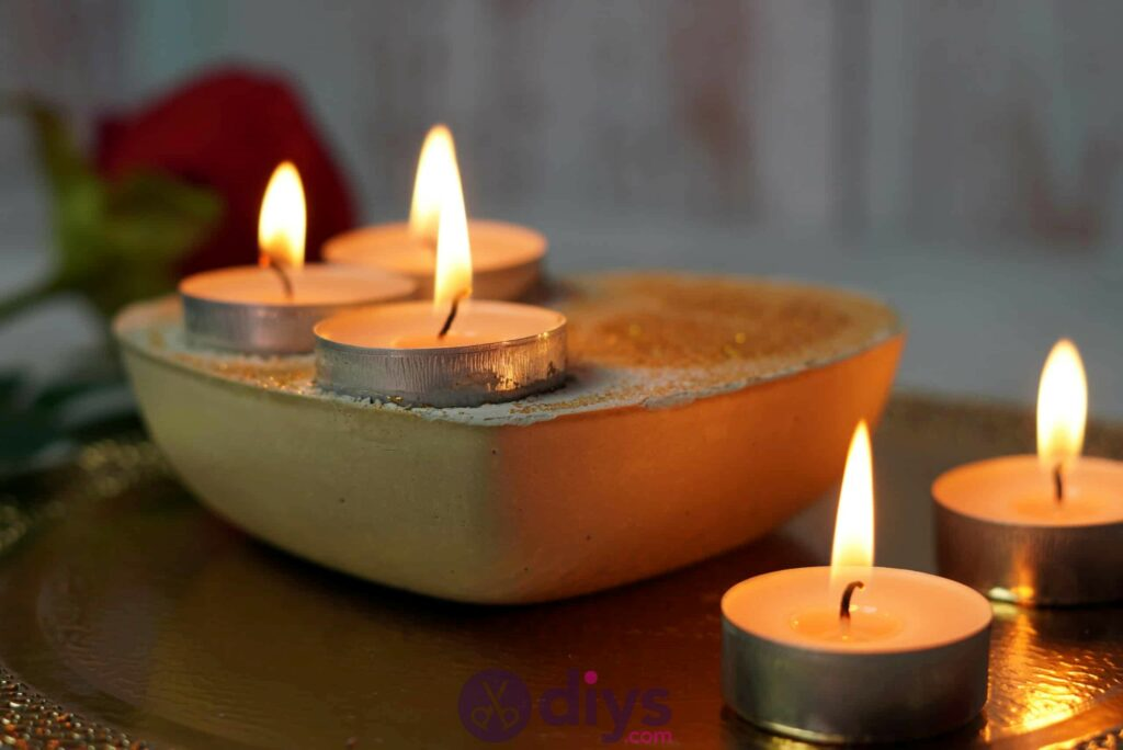Diy concrete heart candle holder project