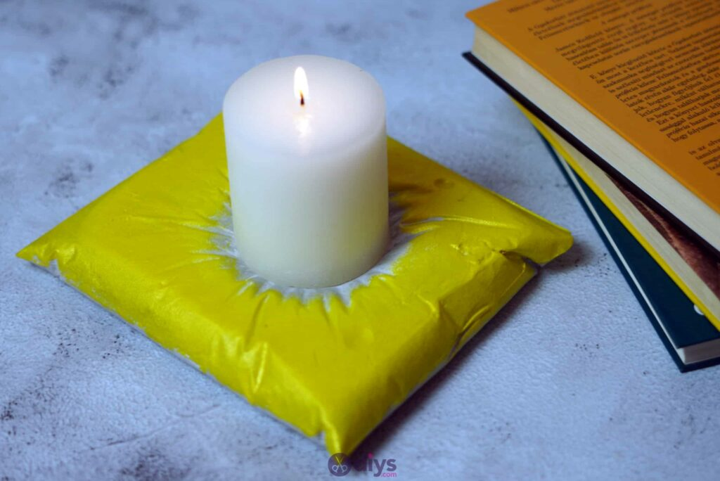 Diy concrete pillow candle holder colorful
