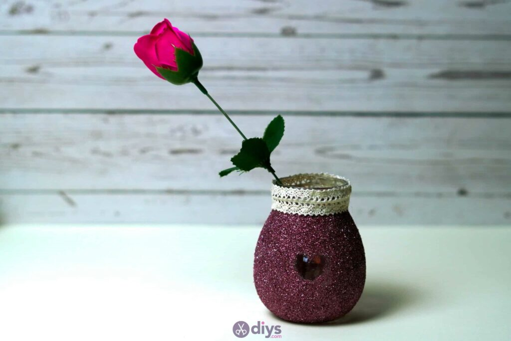 Diy flower glitter vase from glass jars