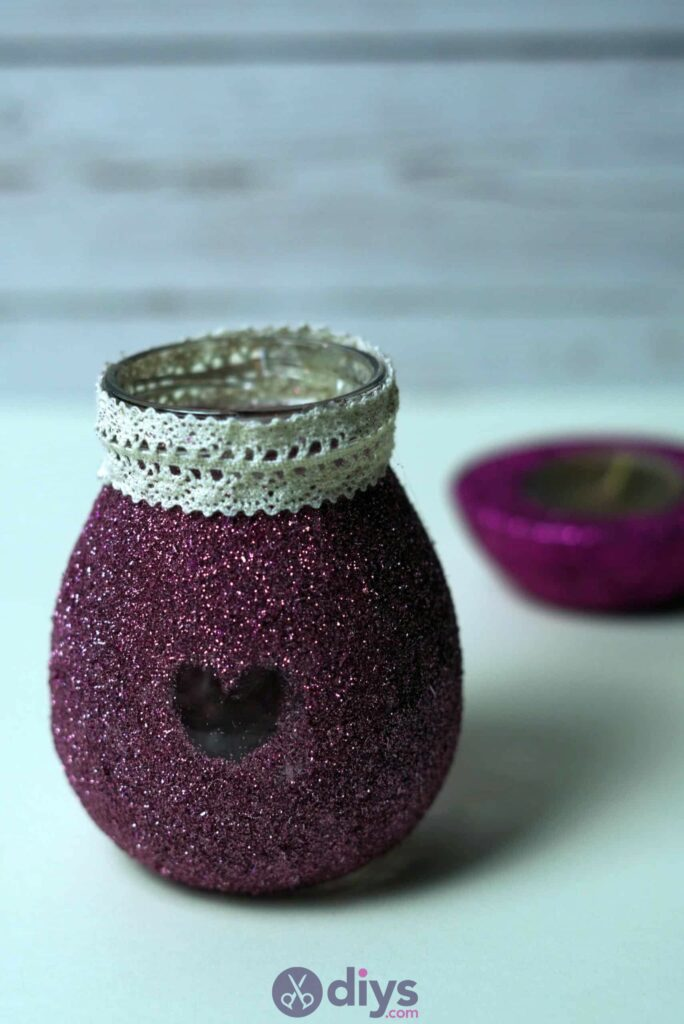 Diy flower glitter vase from glass jars diy