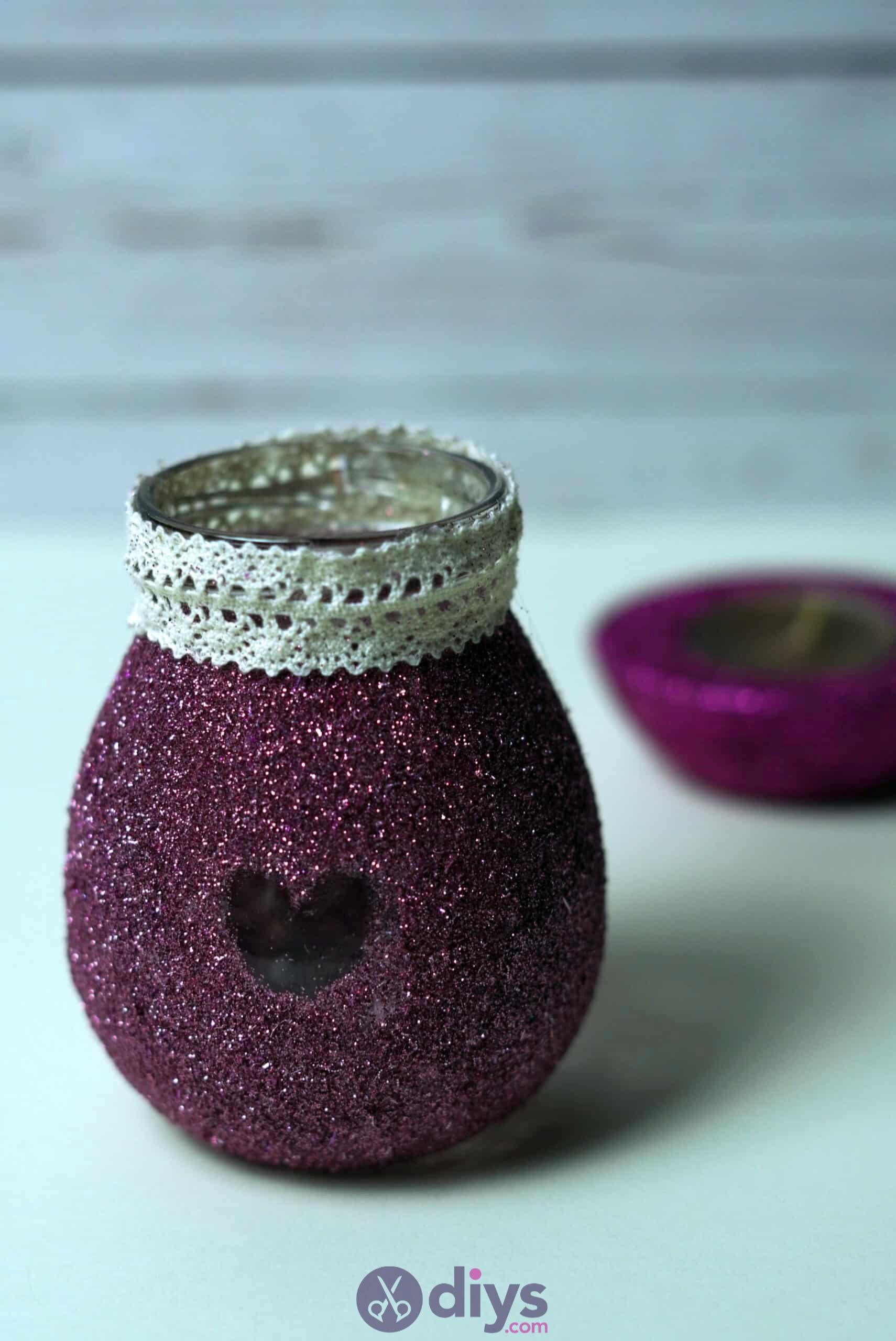Diy flower glitter vase from glass jars diy