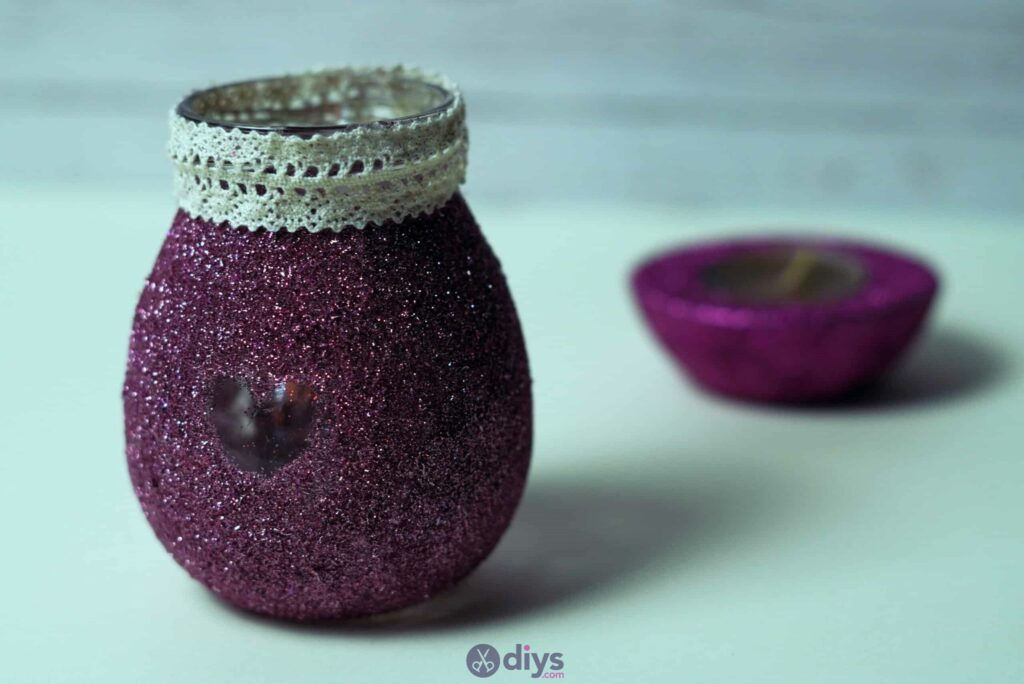 Diy flower glitter vase from glass jars project