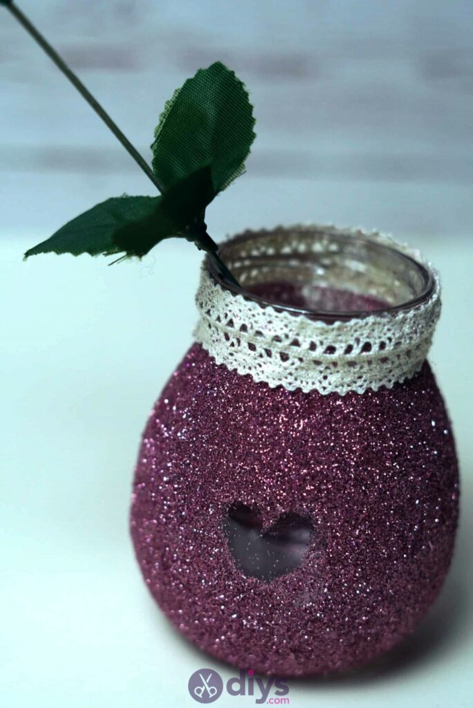 Diy flower glitter vase from glass jars simple