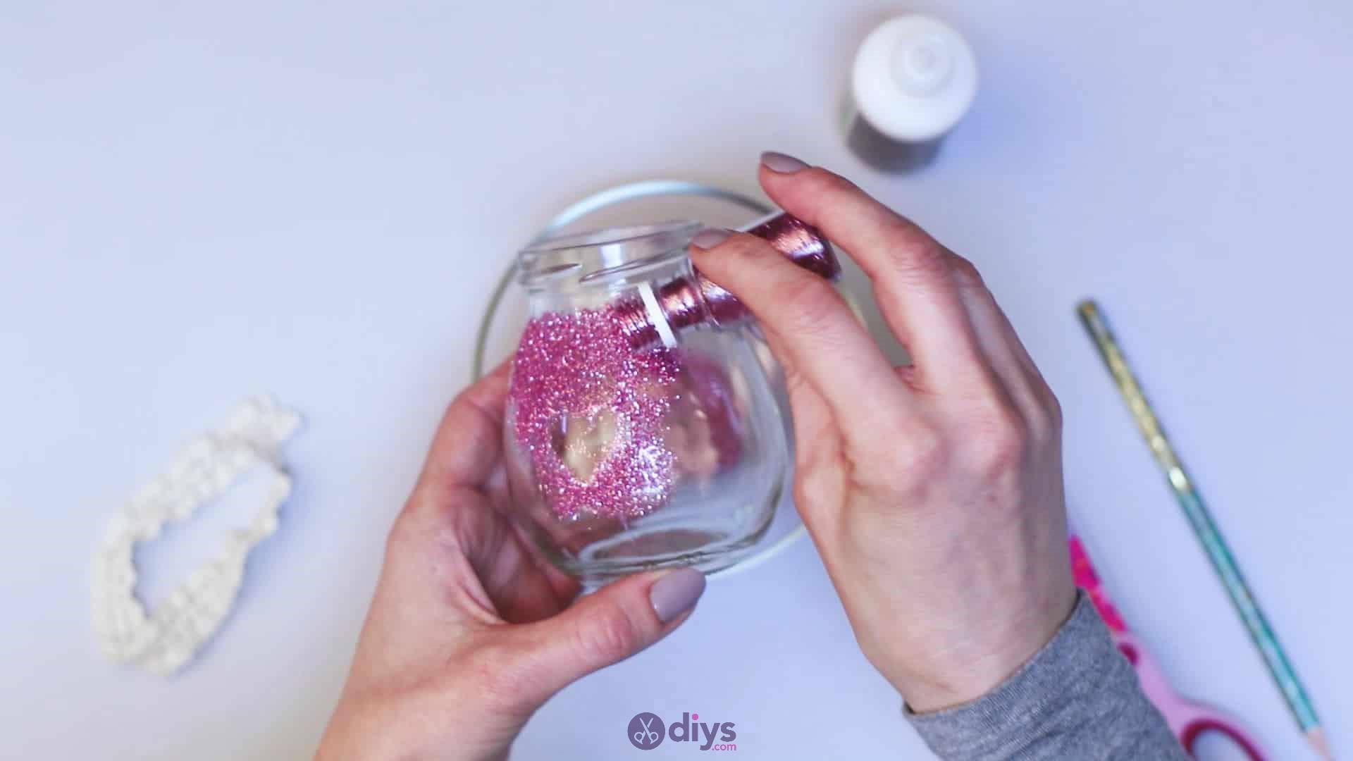Diy flower glitter vase from glass jars step 5c
