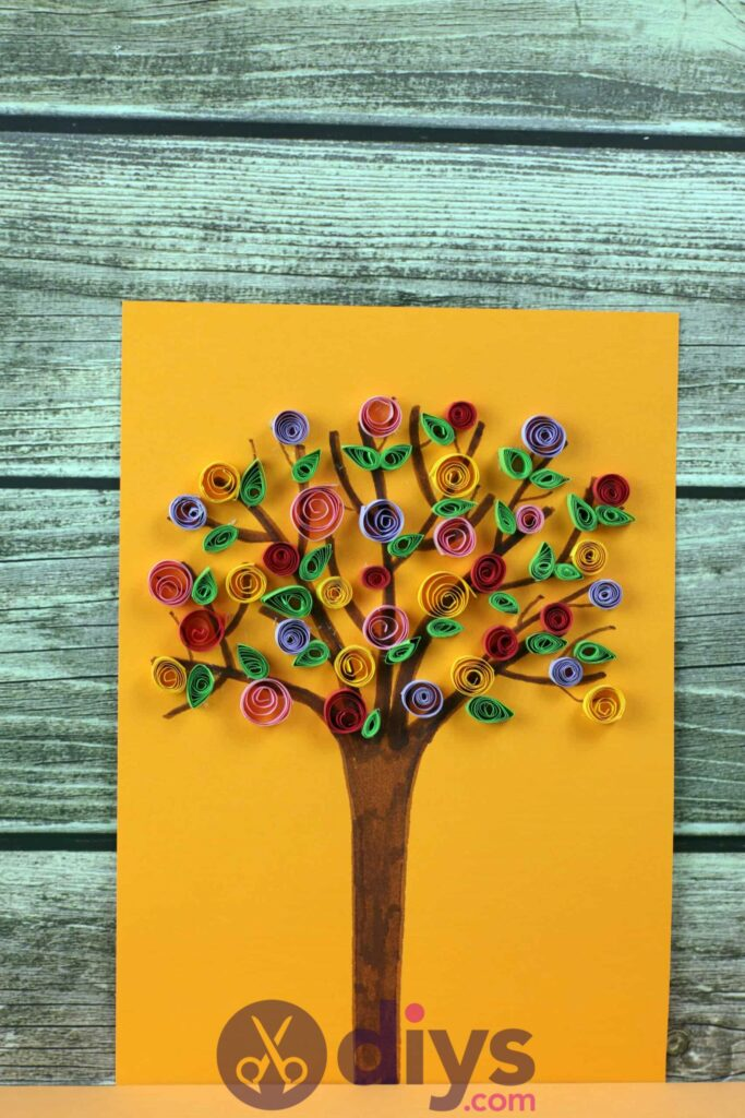 Diy paper spring tree colorful