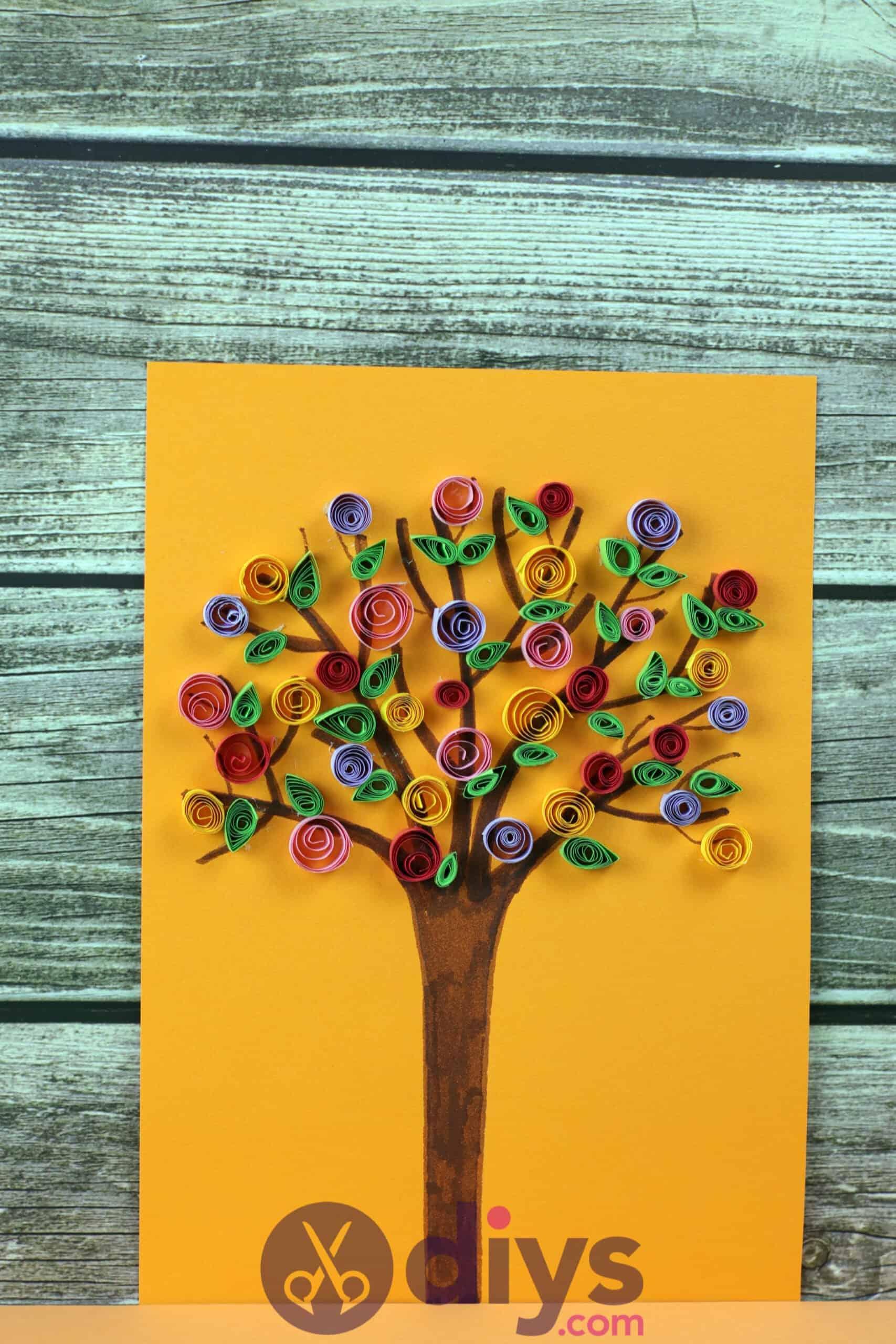 Diy paper spring tree colorful