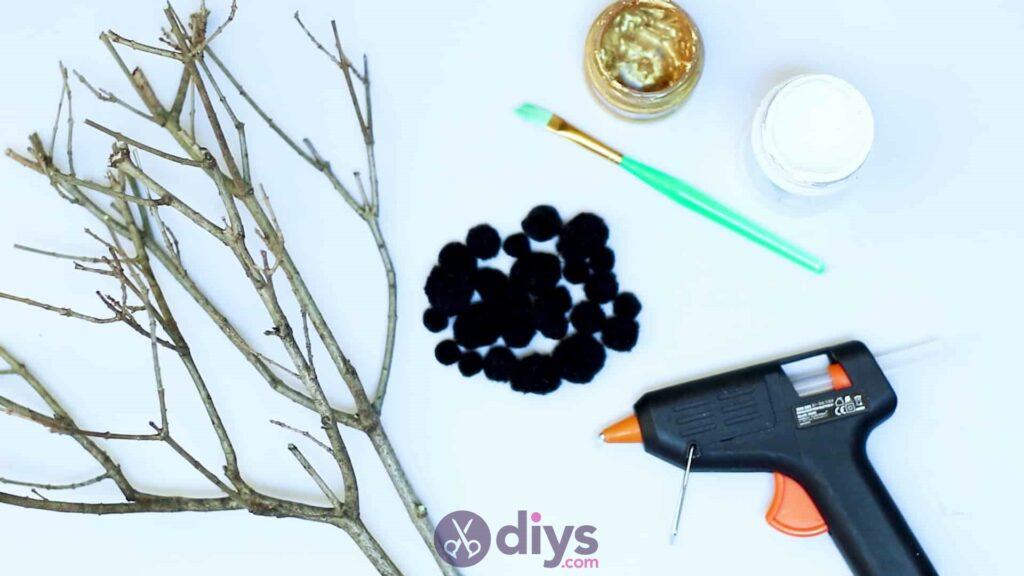 Diy pom pom tree art materials