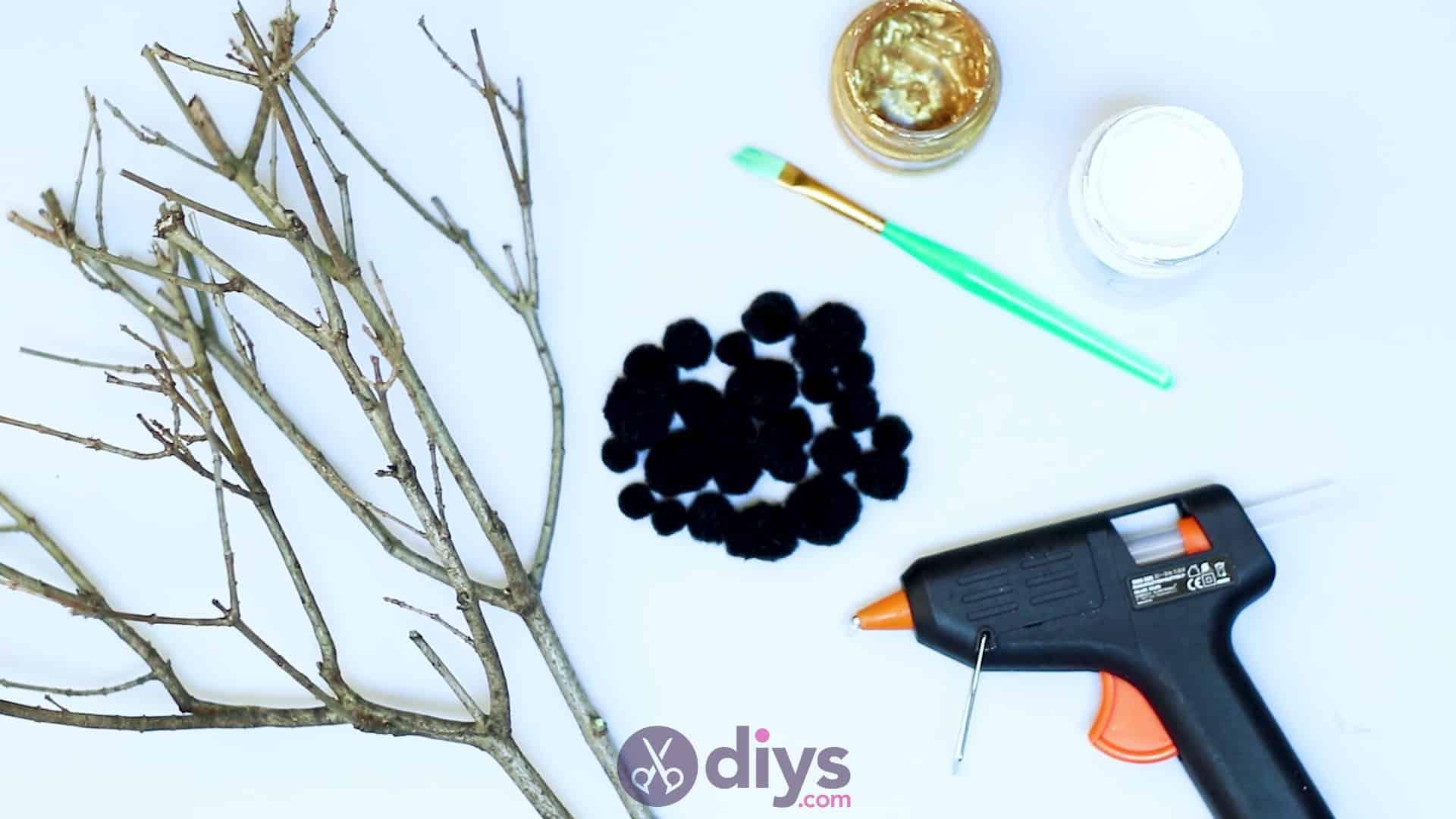Diy pom pom tree art materials
