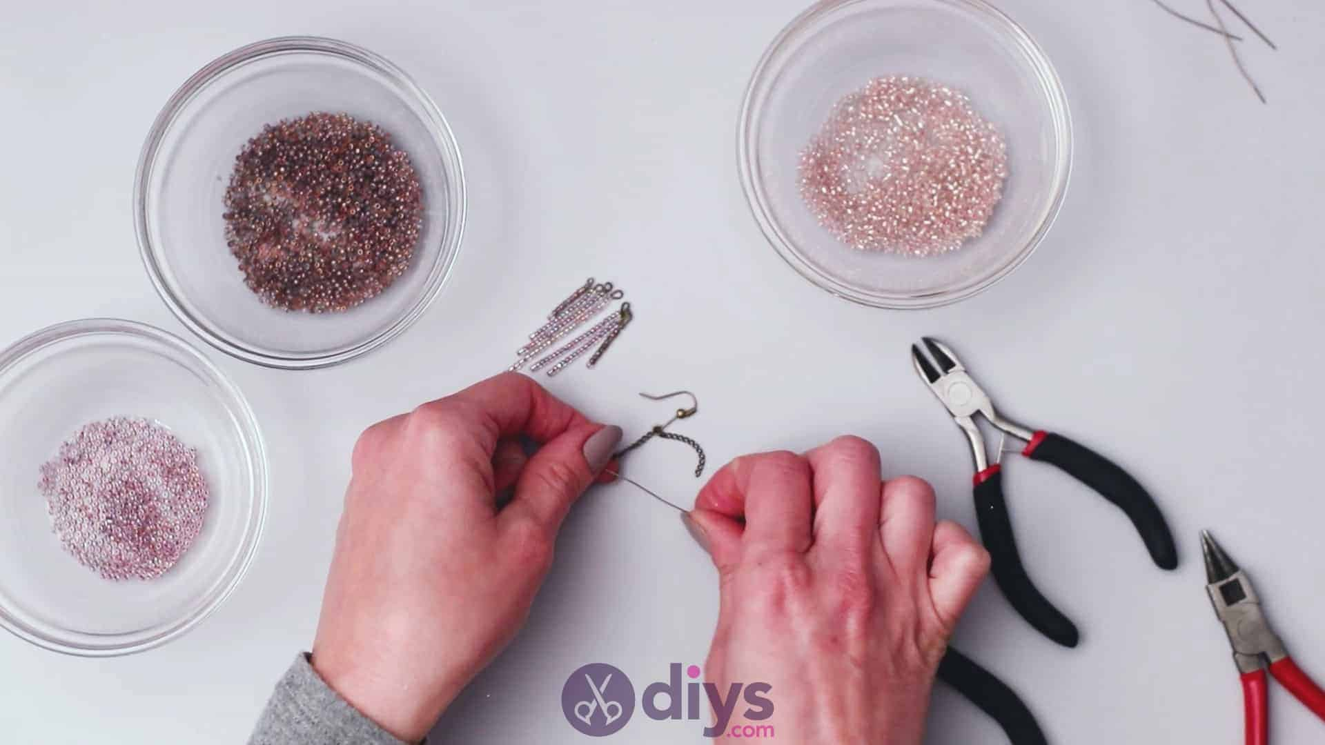 Diy seed bead fringe earrings step 6