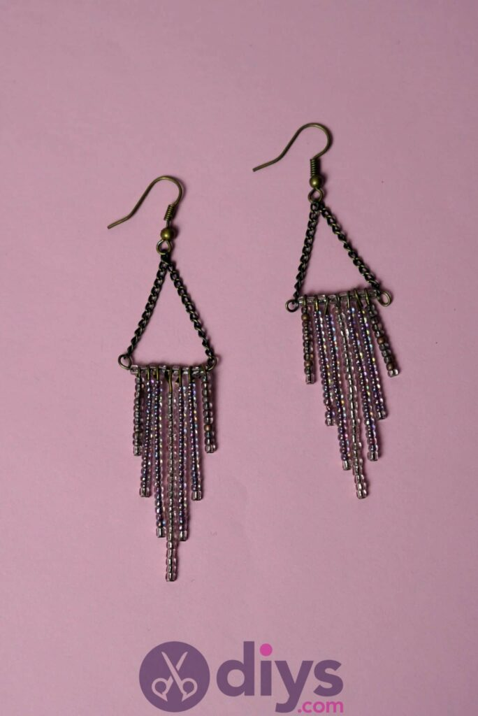 Diy seed bead fringe earrings step 9