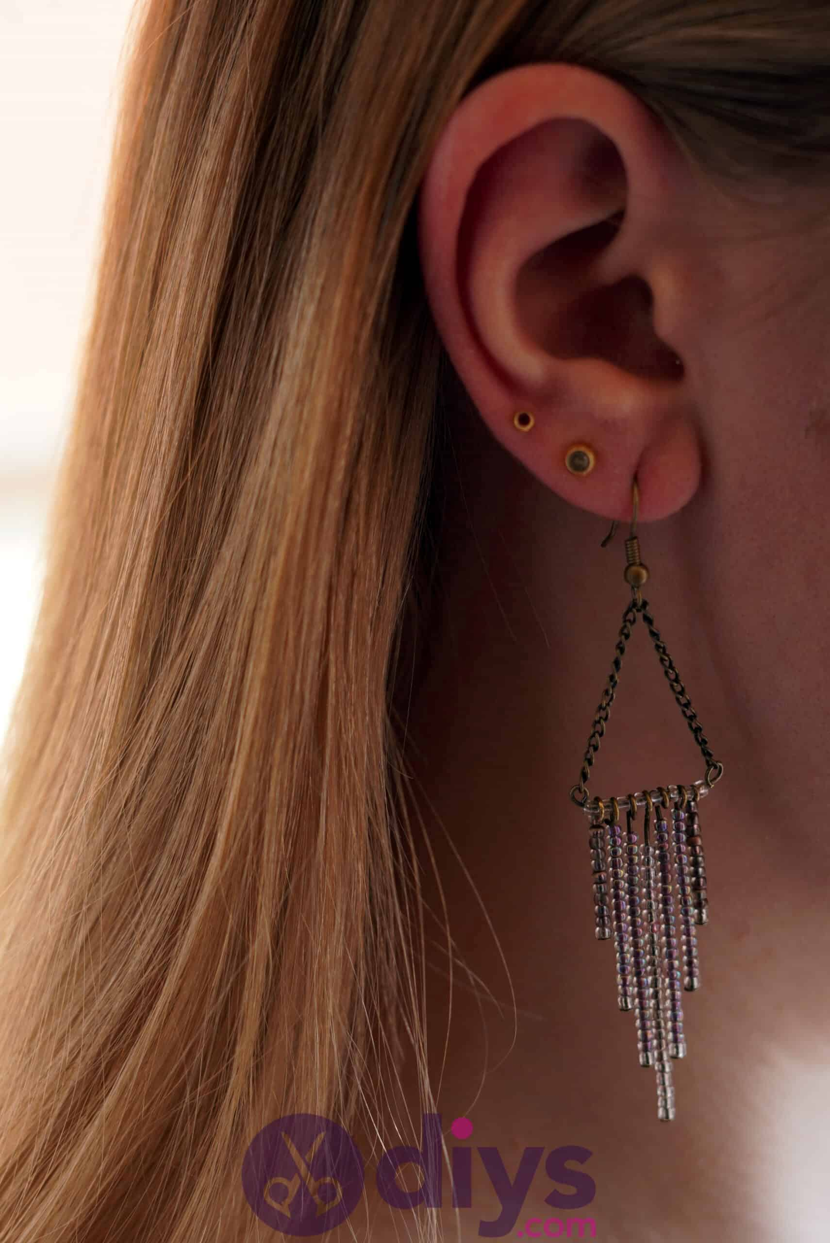 Diy seed bead fringe earrings