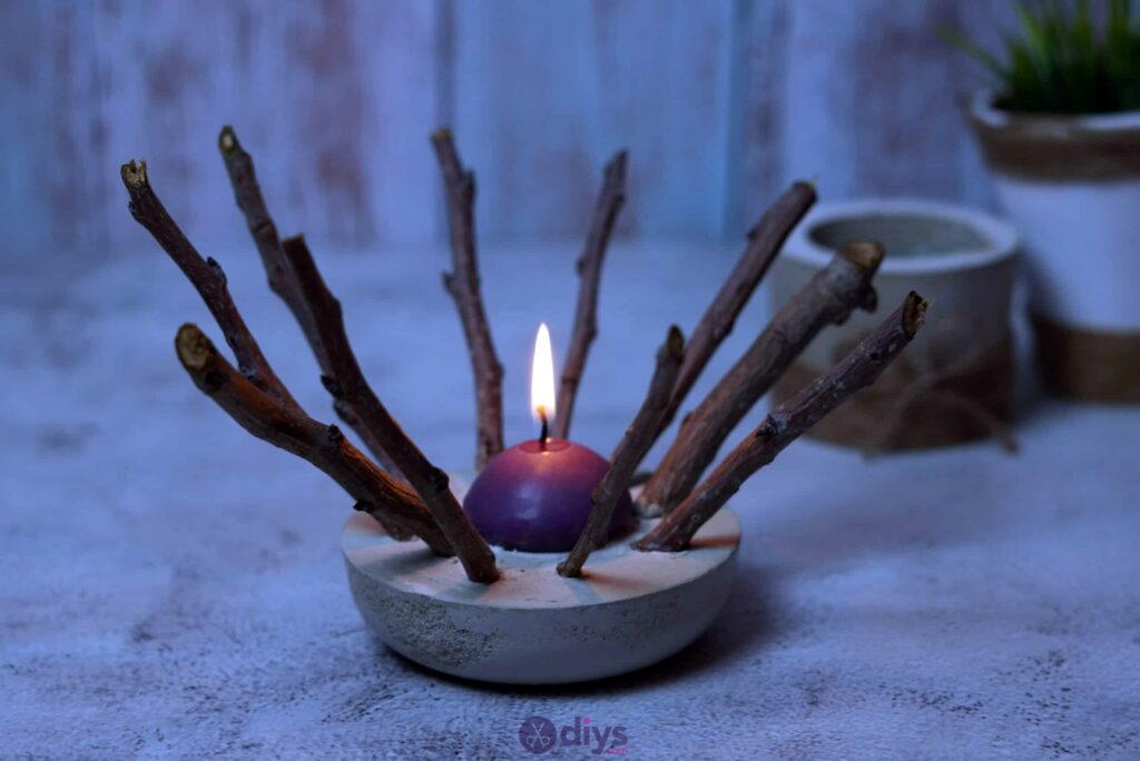Diy wood concrete candle art project