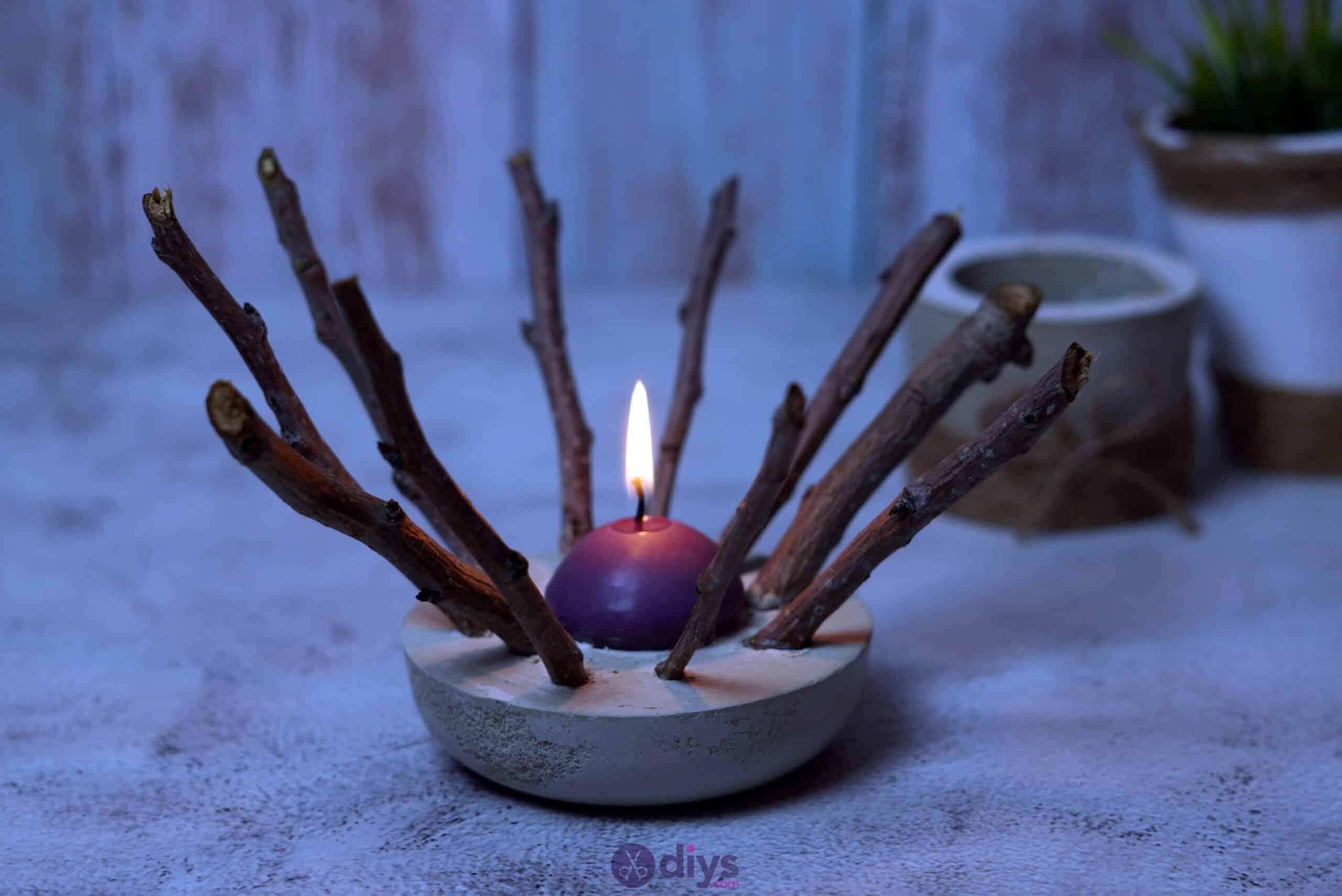 Diy wood concrete candle art project