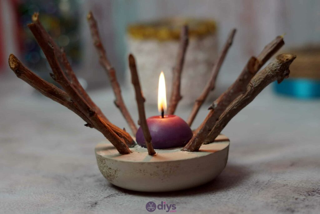 Diy wood concrete candle art rustic