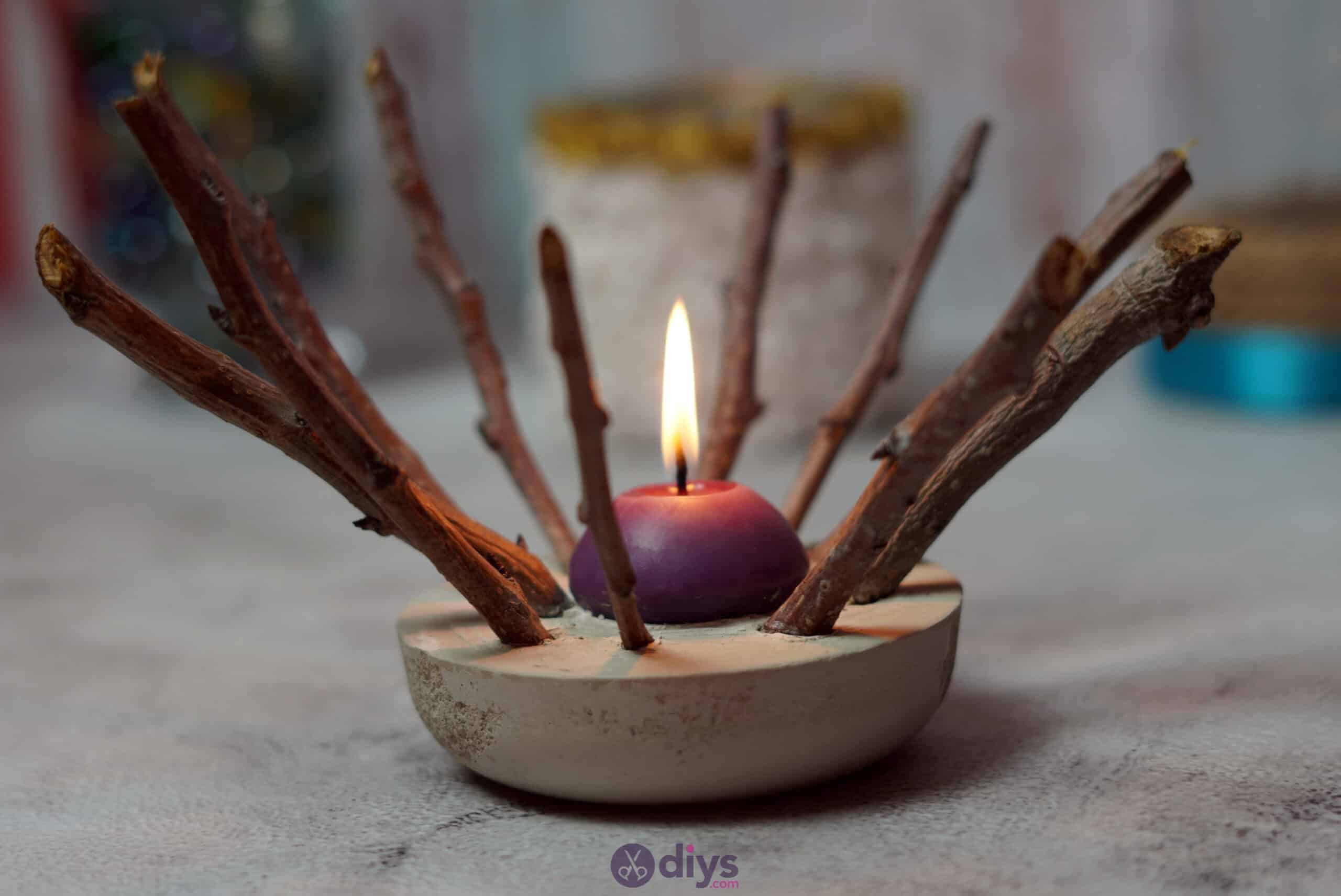 Diy wood concrete candle art rustic