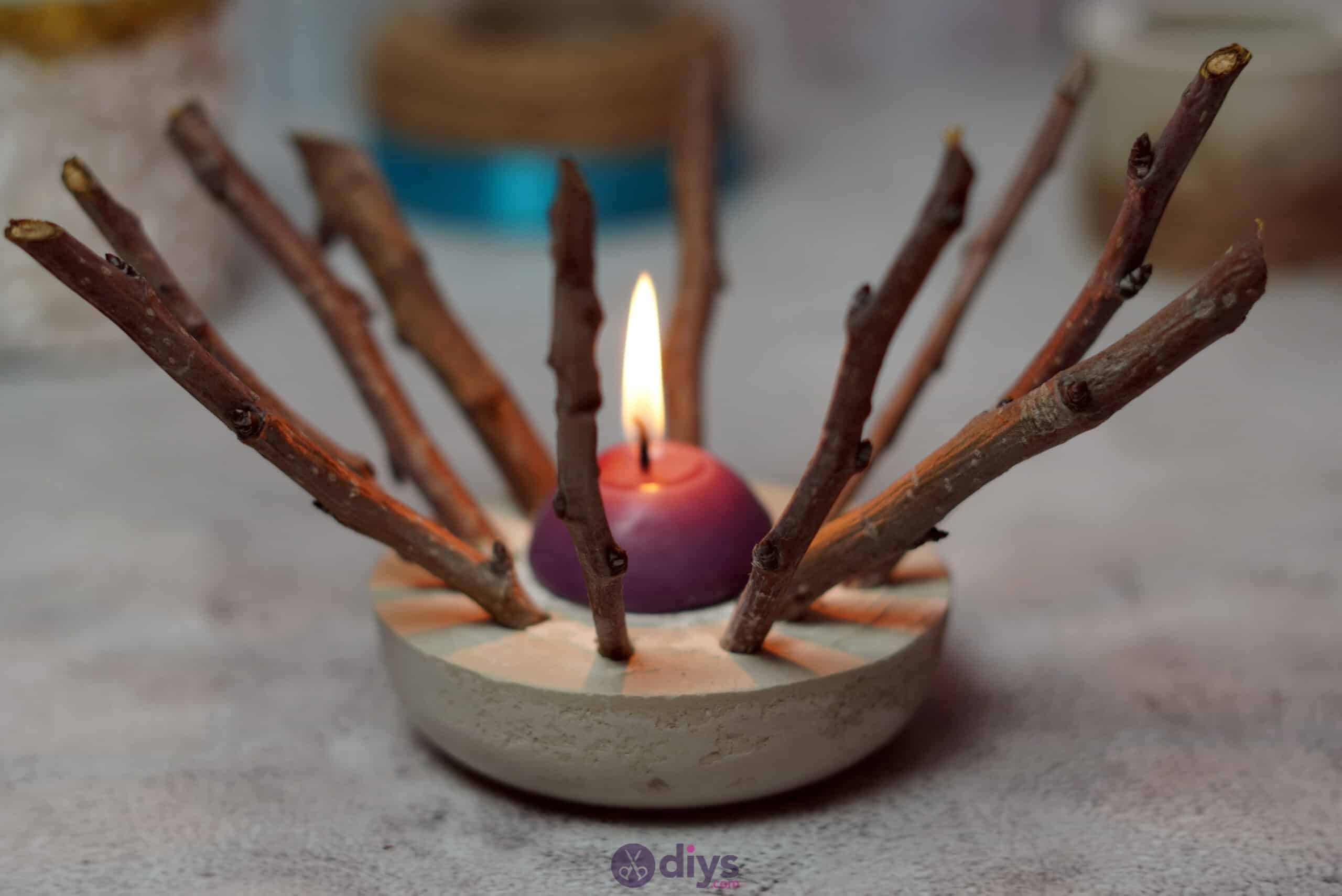 Diy wood concrete candle art