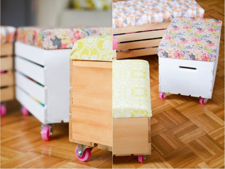 Diy crate toy box with wheels and a cushion
