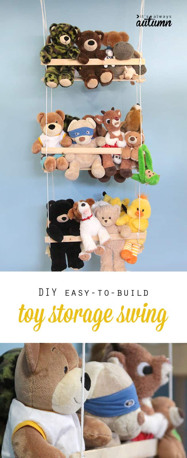 Diy easy to build stuffed toy wall swing