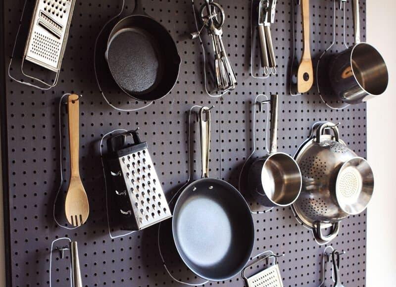 Diy pegboard kitchen storage