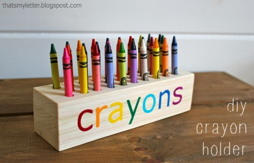 Diy wooden crayon holder