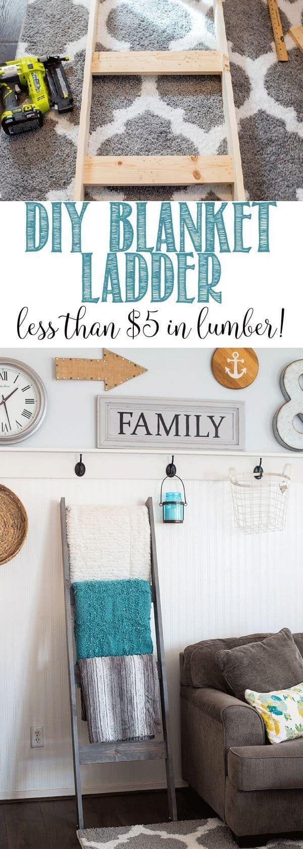 Diy wooden ladder blanket organizer