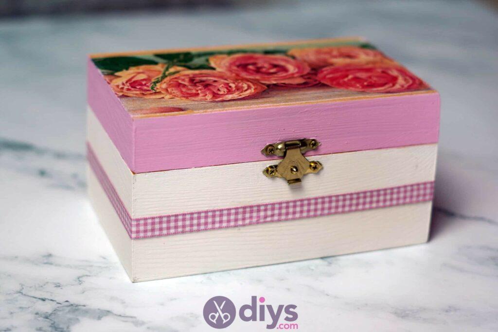 Decoupage wooden jewelry box project