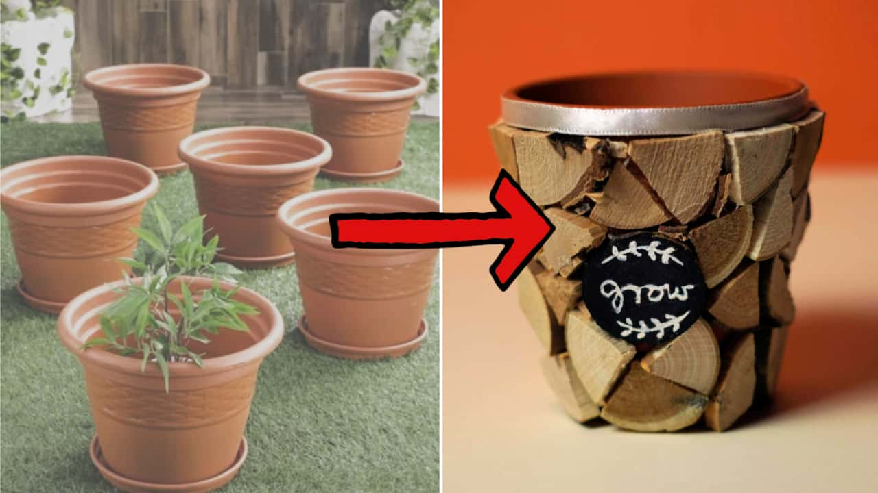 Update Plastic Dollar Store Planters With Slices Of Wood