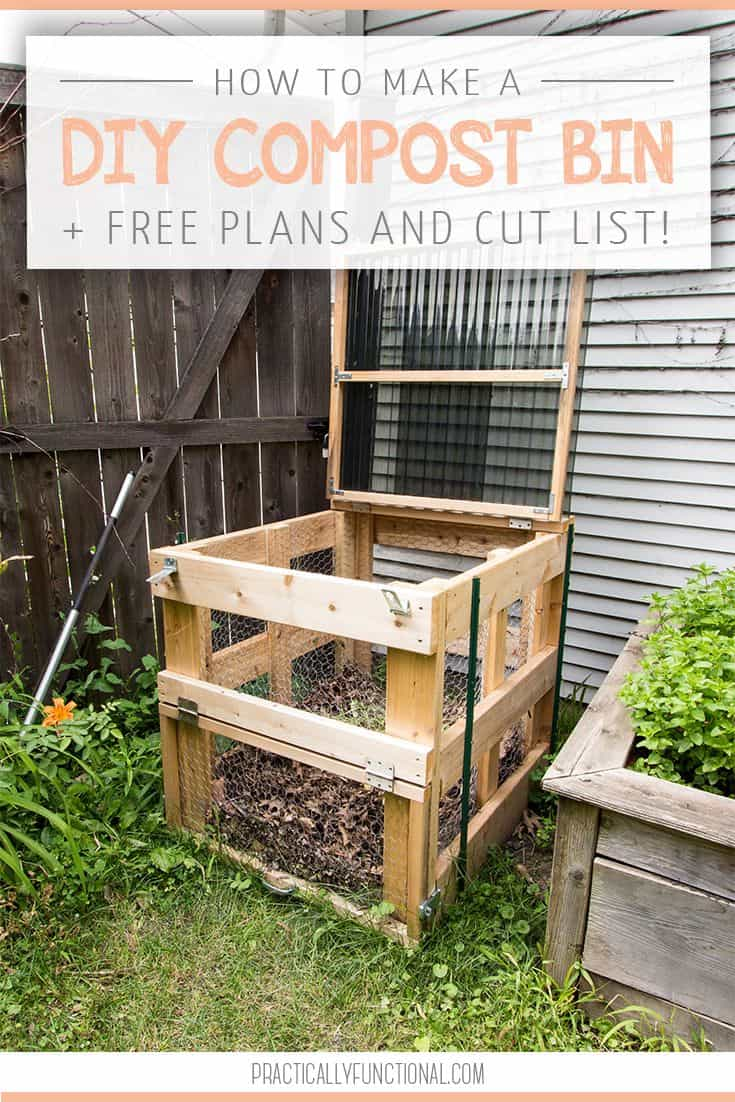 Free wooden composter plans with a hinged lid