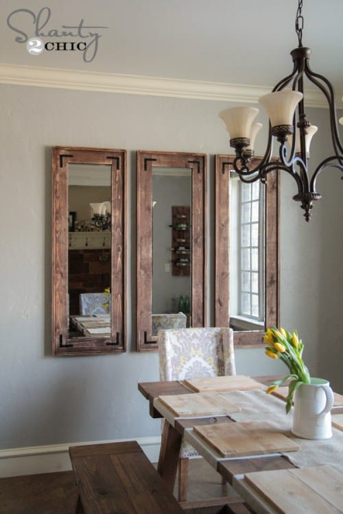 Full length, thick frame wall mounted mirrors