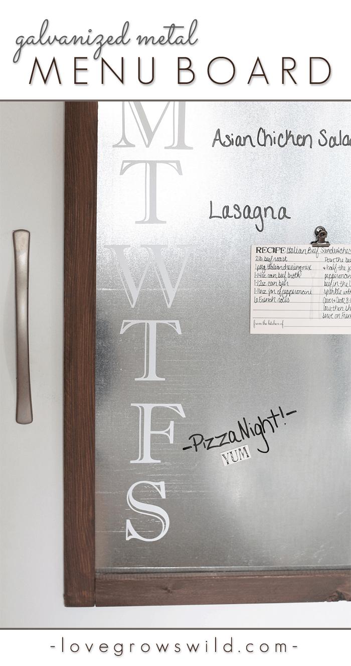 Galvanized metal framed menu board
