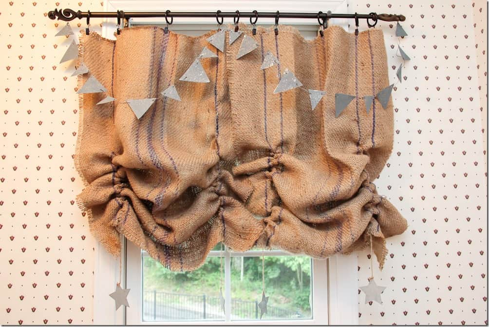 Gathered burlap valance with galvanized metal bunting and star details