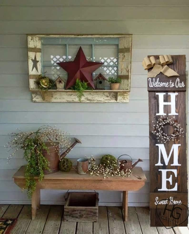 Home porch welcome sign