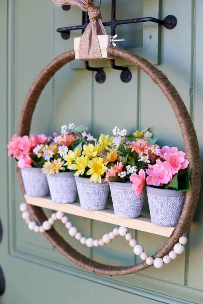 Hanging wood and jute twine potted planter door wreath