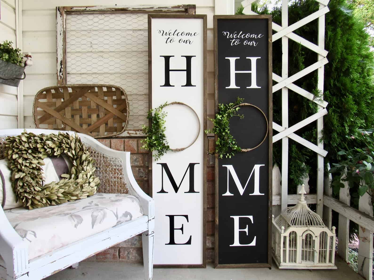 Home sign with greenery