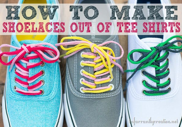 How to make shoelaces out of tee shirts at tidymom net