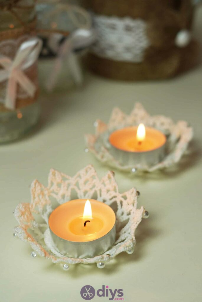 Lace candle holder diy project