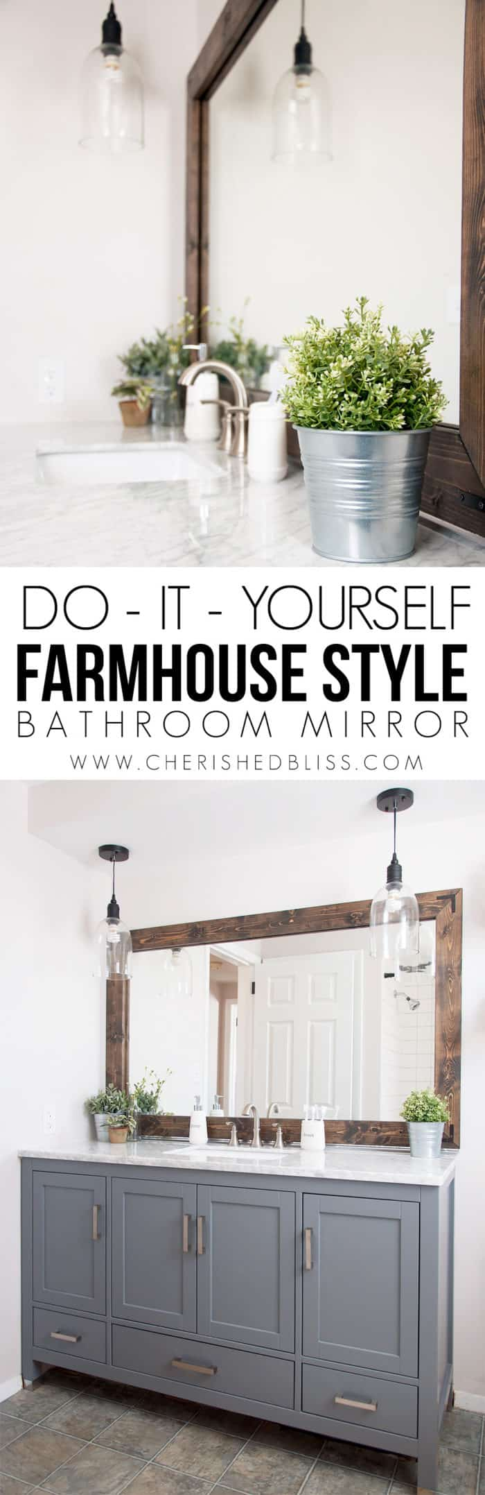Large diy farmhouse style bathroom mirror