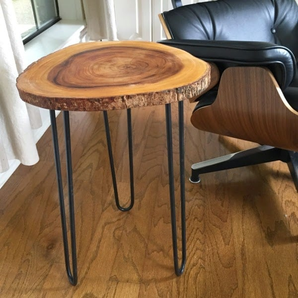 Mid century style wood slice and hairpin leg side table