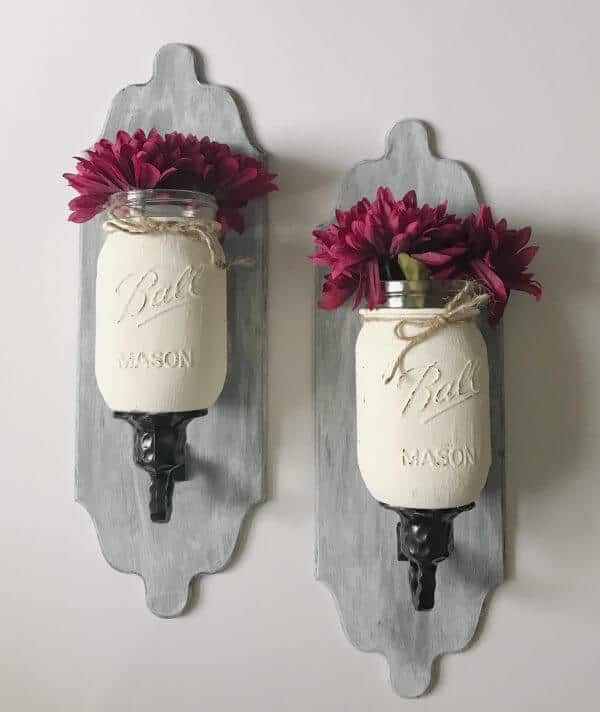 Mounted mason jar wall planters